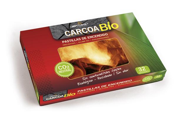 Pastillas de Encendido Carcoa Bio. 32 unidades. CO2 neutral. Ibecosol